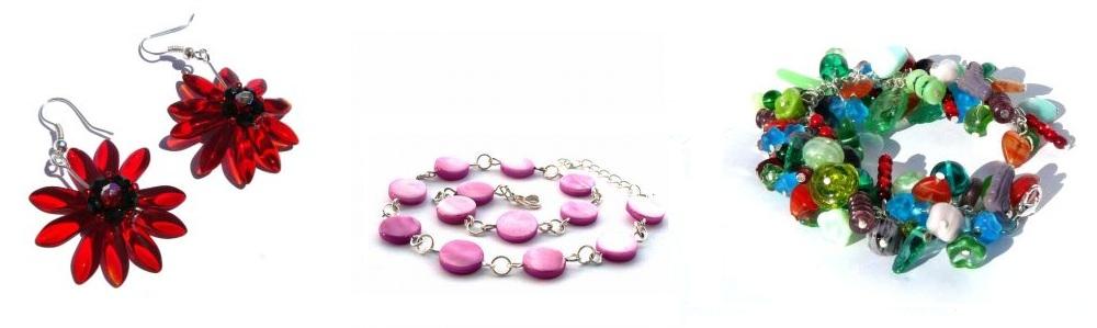 Červené náušnice / / fialový perleťový náramok / / farebný